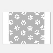 Grey Pawprint pattern Postcards (Package of 8)