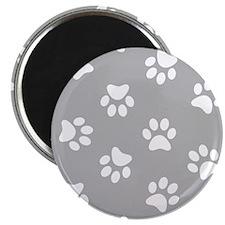 Grey Pawprint pattern Magnets