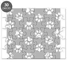Grey Pawprint pattern Puzzle