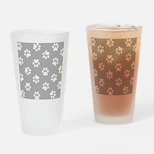 Grey Pawprint pattern Drinking Glass