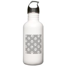 Grey Pawprint pattern Sports Water Bottle