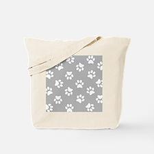 Grey Pawprint pattern Tote Bag