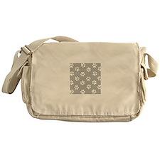 Grey Pawprint pattern Messenger Bag