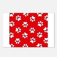 Red Paw print pattern Postcards (Package of 8)