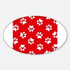 Red Paw print pattern Decal