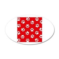 Red Paw print pattern Wall Sticker