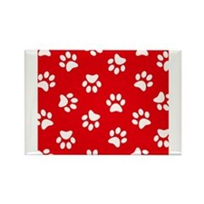 Red Paw print pattern Magnets