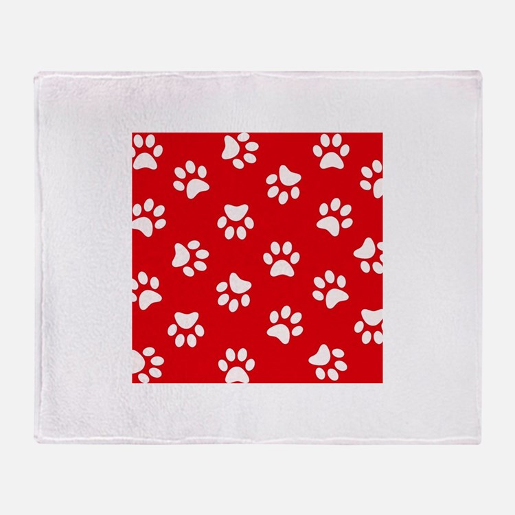 Red Paw print pattern Throw Blanket