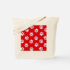 Red Paw print pattern Tote Bag