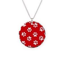 Red Paw print pattern Necklace