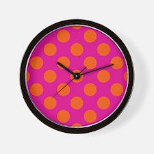 Orange With Hot Pink Polkadots Wall Clock