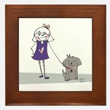 A Girl and Her Dog Framed Tile