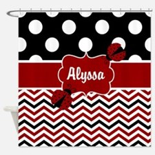 Black Red Ladybug Personalized Shower Curtain