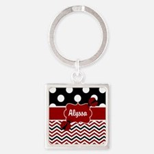 Black Red Ladybug Personalized Keychains