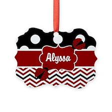 Red Black Chevron Ladybug Personalized Ornament