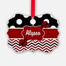 Red Black Chevron Ladybug Personalized Ornament
