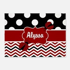 Red Black Chevron Ladybug Personalized 5'x7'Area R