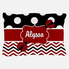 Red Black Chevron Ladybug Personalized Pillow Case