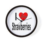 I Love Strawberries Wall Clock