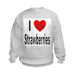 I Love Strawberries (Front) Kids Sweatshirt