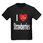I Love Strawberries (Front) Kids Dark T-Shirt