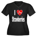 I Love Strawberries (Front) Women's Plus Size V-Ne
