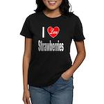 I Love Strawberries (Front) Women's Dark T-Shirt