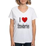 I Love Strawberries (Front) Women's V-Neck T-Shirt