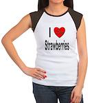 I Love Strawberries Women's Cap Sleeve T-Shirt