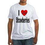 I Love Strawberries (Front) Fitted T-Shirt