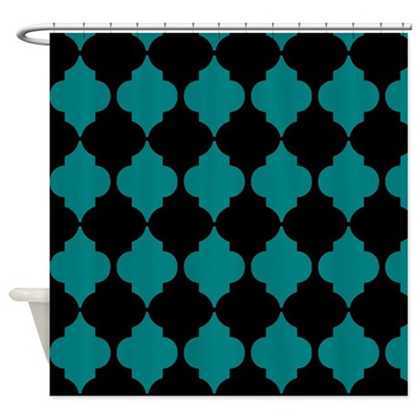 Teal And Black Morroccan Quatrefoil Shower Curtain By Erics Designz
