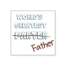 "World's Greatest Father Square Sticker 3"" x 3"""