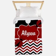 Chevron Red Black Ladybug Personalized Twin Duvet