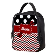 Chevron Red Black Ladybug Personalized Neoprene Lu