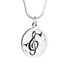 Music Silver Round Necklace Necklaces
