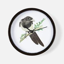 Original Watercolor Magpie Bird Wall Clock