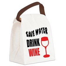 Save Water Drink Wine Canvas Lunch Bag