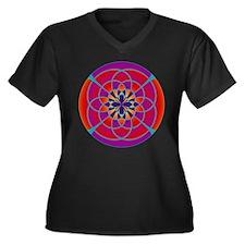 Unique Mandala orange Women's Plus Size V-Neck Dark T-Shirt