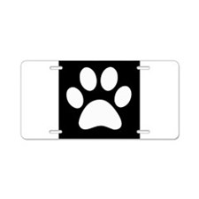 Black and white Paw print Aluminum License Plate