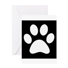 Black and white Paw print Greeting Cards