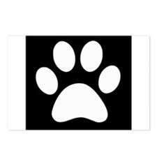 Black and white Paw print Postcards (Package of 8)