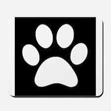 Black and white Paw print Mousepad