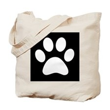 Black and white Paw print Tote Bag