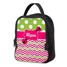 Pink Green Chevron Ladybug Personalized Neoprene L