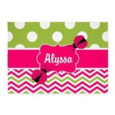 Pink Green Chevron Ladybug Personalized 5'x7'Area