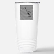 Saxophone on Black and White Travel Mug