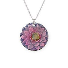 Pink Water Lily Necklace Circle Charm