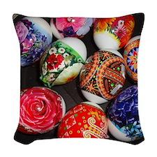 Easter eggs Woven Throw Pillow