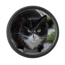 Black and White Cat Large Wall Clock