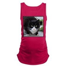 Black and White Cat Maternity Tank Top
